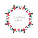 La guirlande de salutation de saison avec la sorbe, sapin s'embranche, poinsettia Cadre rond pour les cartes de Noël, les invitat illustration de vecteur