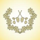La guirlande des feuilles et du gland graphiques de chêne s'embranche illustration de vecteur