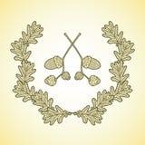 La guirlande des feuilles et du gland graphiques de chêne s'embranche illustration libre de droits