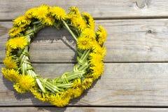La guirlande du ressort jaune fleurit - des pissenlits sur un fond en bois Images stock