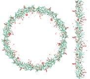 La guirlande ronde de Noël avec la neige et le sapin s'embranche sur le blanc illustration libre de droits
