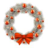 La guirnalda de la Navidad blanca adornó bolas Imagen de archivo