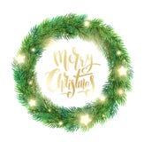 La guirnalda de la Navidad del abeto ramifica, las estrellas que brillan intensamente ilustración del vector