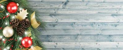 La guirnalda de la Navidad en la puerta de madera, 3d rinde el ejemplo Imagen de archivo