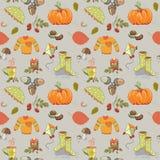 La guirnalda del otoño hecha del rojo se va con los escaramujos Ejemplo del vector en fondo verde El otoño está aquí Imagenes de archivo
