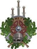 La guirnalda del roble, un casco de Viking y dos cruzaron las hachas de armas, tres espadas y un escudo adornado con las runas Fotografía de archivo libre de regalías