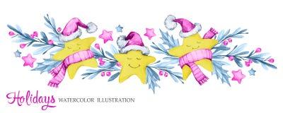 La guirnalda horizontal de la acuarela con la historieta protagoniza en paños, hojas y bayas calientes Año Nuevo Feliz Navidad Foto de archivo libre de regalías