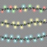La guirnalda luminosa de las luces de la Navidad aisló el elem realista del diseño stock de ilustración