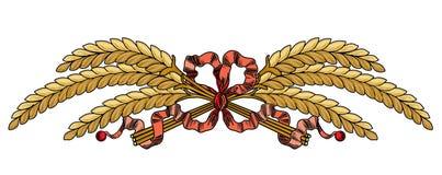 La guirnalda roja oriental del trigo de las banderas de las cintas del extracto ramifica ejemplo libre illustration