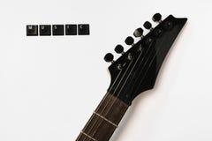 La guitare électrique ficelle le fond d'isolement par musique d'amour Images libres de droits