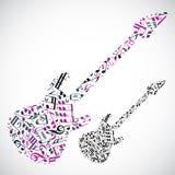 La guitare basse de vecteur lumineux a rempli de notes musicales, décor léger Photographie stock