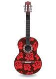 La guitare décorée de l'ornement des roses rouges fleurit, conception décorative Images stock