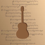 La guitarra cortó del papel - vector el fondo de la música con las notas Fotografía de archivo