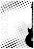La guitarra eléctrica puntea el fondo del cartel Imagen de archivo