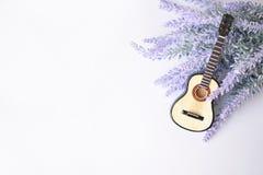 La guitarra en un fondo de la lavanda Imagen de archivo libre de regalías