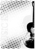 La guitarra puntea el fondo del cartel Imagenes de archivo