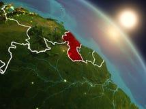 La Guyana da spazio durante l'alba Fotografia Stock