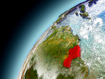 La Guyana dall'orbita di Earth di modello Fotografie Stock Libere da Diritti