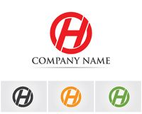 La H segna le icone con lettere del modello di simboli e di logo Immagini Stock Libere da Diritti