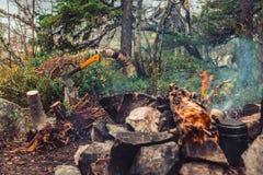 La hache a collé dans le rondin près du feu Photographie stock libre de droits