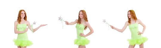 La hada bastante roja del pelo en el vestido verde aislado en blanco fotos de archivo libres de regalías
