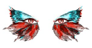 La hada roja observa con maquillaje, rojo y las alas verdes de la turquesa de la mariposa forman los sombreadores de ojos ilustración del vector