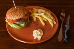 La hamburguesa frió las patatas y la mayonesa en una placa de la loza de barro Fotos de archivo libres de regalías