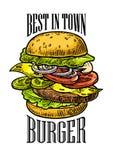 La hamburguesa incluye la chuleta, el tomate, el pepino y la ensalada aislados en el fondo blanco stock de ilustración