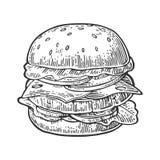 La hamburguesa incluye la chuleta, el tomate, el queso, el pepino y la ensalada aislados en el fondo blanco ilustración del vector