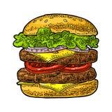 La hamburguesa incluye la chuleta, tomate, pepino, ensalada Grabado negro del vintage del vector ilustración del vector