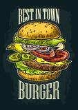 La hamburguesa incluye la chuleta, el tomate, el pepino y la ensalada aislados en el fondo blanco ilustración del vector