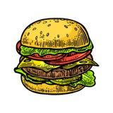 La hamburguesa incluye la chuleta, el tomate, el pepino y la ensalada en el fondo blanco libre illustration