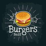 La hamburguesa incluye la chuleta, el tomate, el queso y la ensalada Ejemplo plano del vector libre illustration