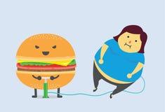 La hamburguesa le hace la grasa Fotografía de archivo