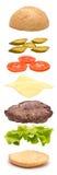 La hamburguesa parte la explosión vertical fotos de archivo