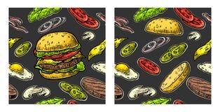La hamburguesa y los ingredientes inconsútiles del modelo incluyen la chuleta, el tomate, el pepino y la ensalada libre illustration