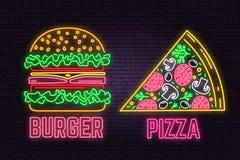 La hamburguesa y la pizza de neón retras firman en fondo de la pared de ladrillo Diseño para el café de los alimentos de preparac stock de ilustración