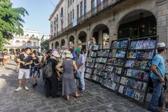 Book sellers on street in La Habana Vieja, turistic place in Cuba Stock Photography