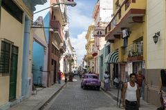 Inside China-town streets, general travel imagery from La Havana, Cuba Royalty Free Stock Photos