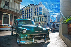 LA HAVANE, CUBA - 11 JUILLET 2016 Voiture américaine classique de vintage vert Images libres de droits