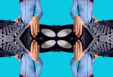 La hembra cobarde DJ modela Imagen de archivo