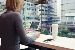 La hembra está haciendo compras en Internet vía la tableta digital, mientras que se está sentando en café imágenes de archivo libres de regalías