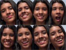 La hembra feliz sonriente hace frente al collage Imágenes de archivo libres de regalías