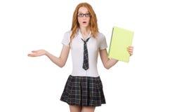 La hembra joven chocada del estudiante aislada en blanco Imagen de archivo