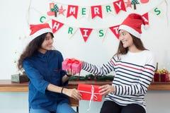 La hembra joven hermosa está celebrando en casa, mujer está dando hola Imagen de archivo libre de regalías