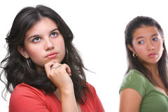 La hembra joven no hace caso de su amigo Imágenes de archivo libres de regalías