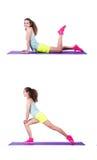 La hembra joven que hace ejercicios en blanco Imagen de archivo