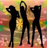 La hembra siluetea el baile en un disco Fotografía de archivo libre de regalías
