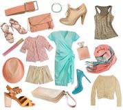 La hembra viste el collage Sistema de la ropa de las mujeres Aislado Imagen de archivo libre de regalías