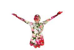 La hembra y las rosas florecen en la exposición doble en el fondo blanco imágenes de archivo libres de regalías